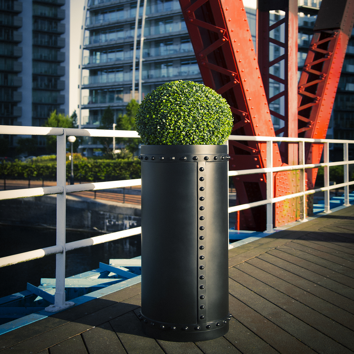 GRP Rivet Cylinder Planter industrial look