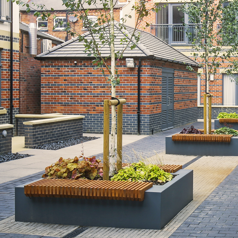BENCH7 DOUBLE BENCH TIMBER SEAT PLANTER EUROPLANTERS street funiture