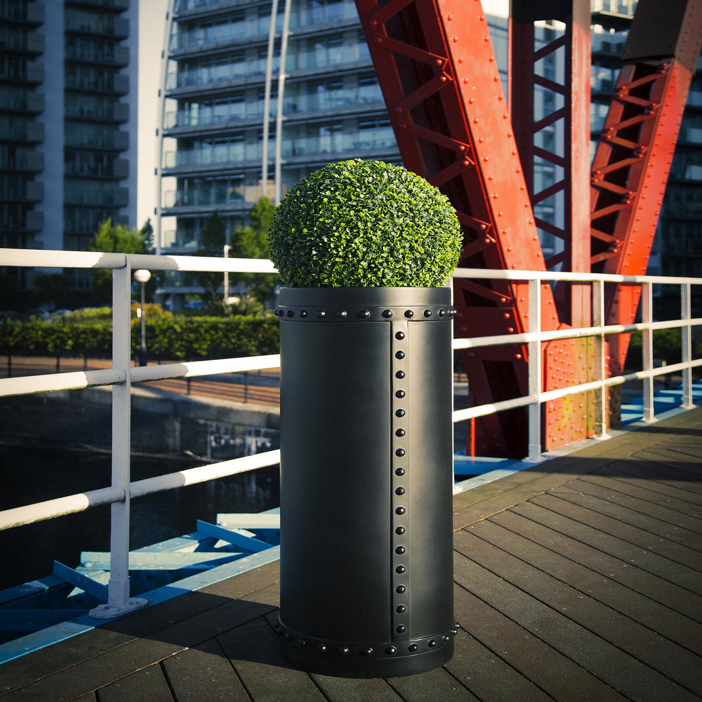 GRP Rivet Cylinder Planter industrial look
