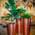HAMMERED COPPER CONICAL GROUP PLANTERS