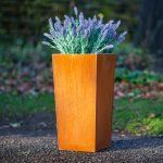Corten-tapered-square-metal-planter-by-europlanters